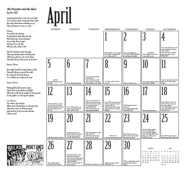Datumbladen är späckade med bland annat sångtexter, illustrationer och korta texter om händelser ur arbetarrörelsens historia.